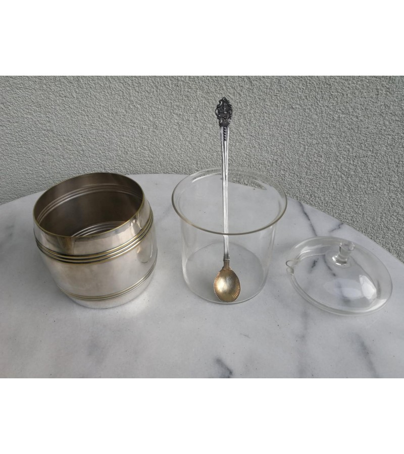 Cukrinė antikvarinė, sidabruota. Kaina 26