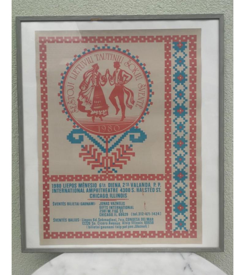 Plakatas Šeštoji lietuvių tautinių šokių šventė, 1980 m. Chicago Illinois. Kaina 157
