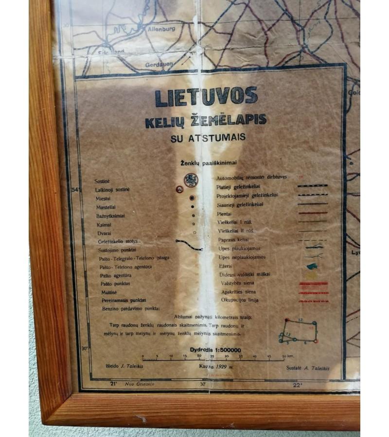 Žemėlapis Lietuvos kelių. 1929 m. Originalas. Įrėmintas. Kaina 137