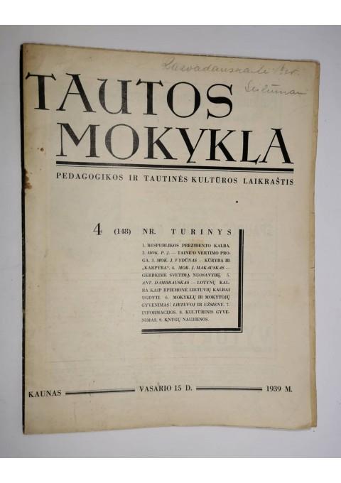 Žurnalas Tautos mokykla. 1939 m. vasario 15 d. Kaina 3