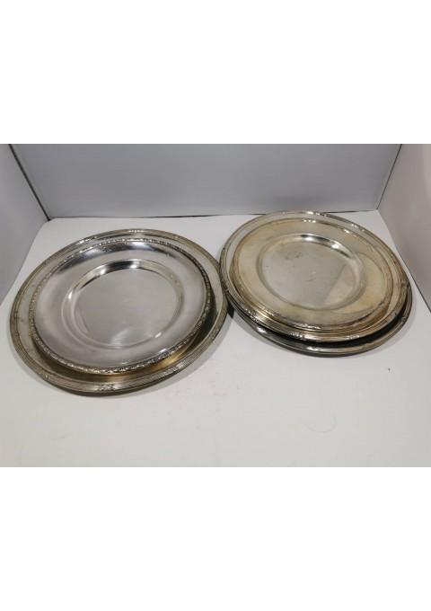 Lėkštės metalinės, sidabruotos, antikvarinės. 7 vnt. Kaina po 6