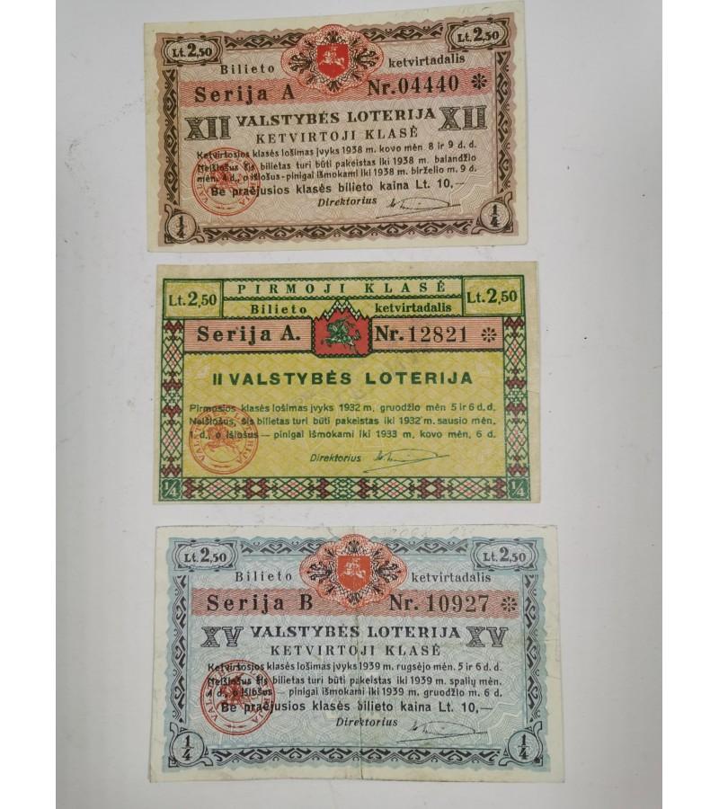 Loterijos bilietai Lietuvos tarpukario. 3 vnt. Kaina po 26