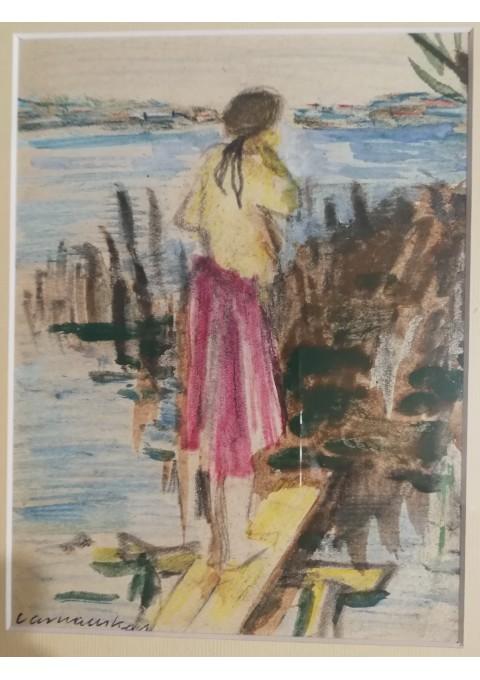 Peizažas su mergina. Zenonas Varnauskas. Kaina 107