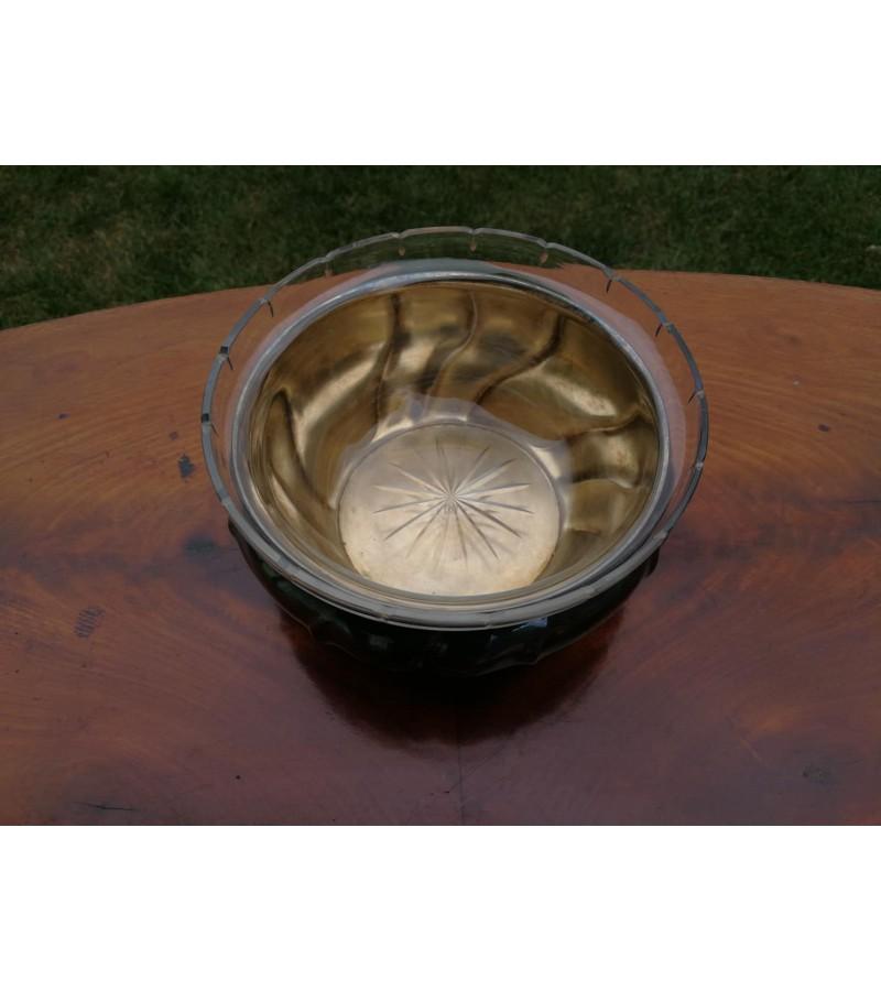 Indas su stiklu, sidabruotas, antikvarinis. Kaina 28