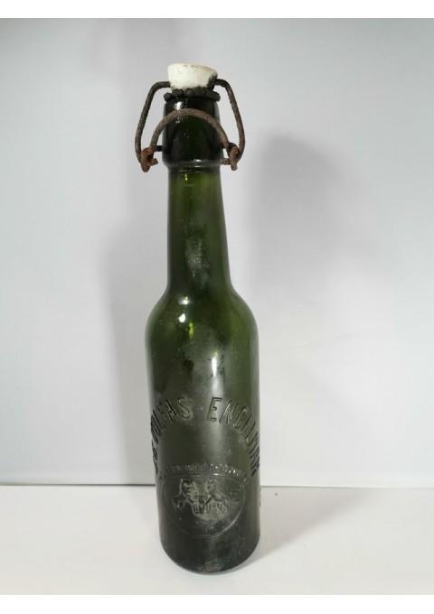 Butelis alaus tarpukario J. B. Volfas-Engelman, žalio stiklo. Kaina 16