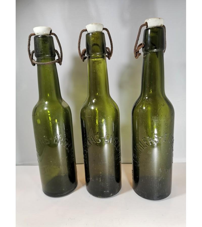 Buteliai alaus tarpukario J. B. Volfas-Engelman, žalio stiklo. 3 vnt. Kaina po 16