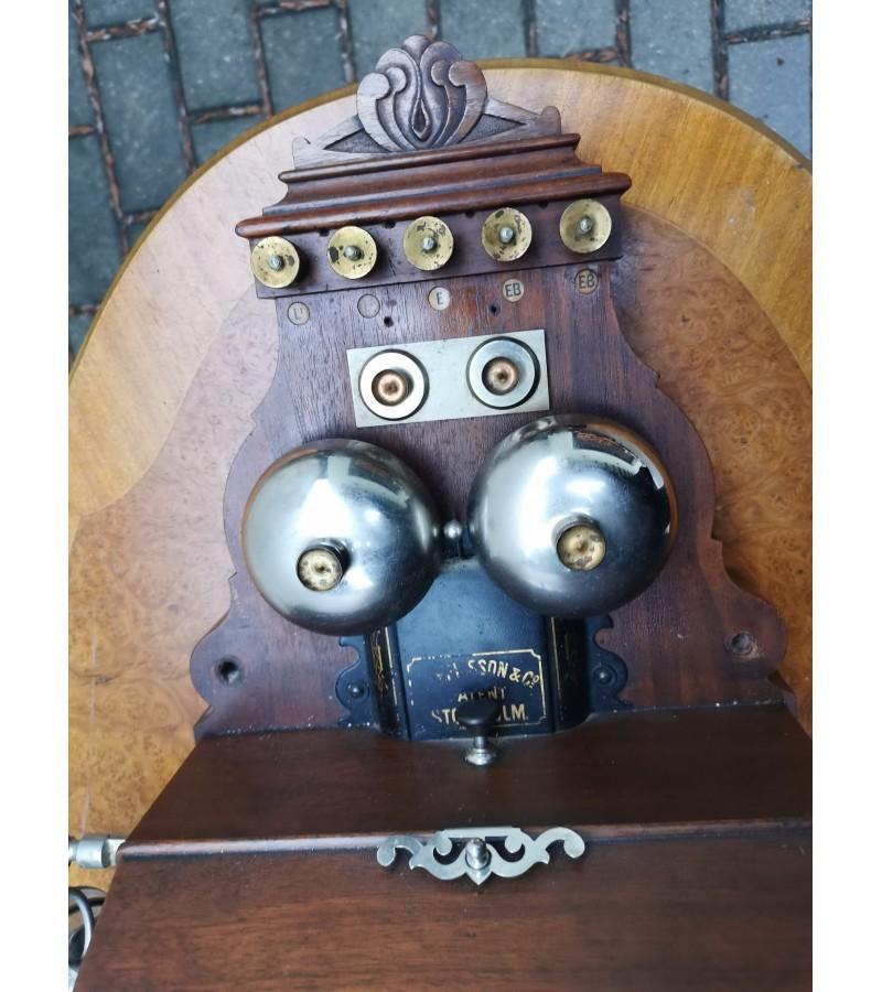 Antikvarinis telefonas L. M. Ericsson Company Stockholm. Viskas autentiška. Kaina 540.  Galima nuoma.