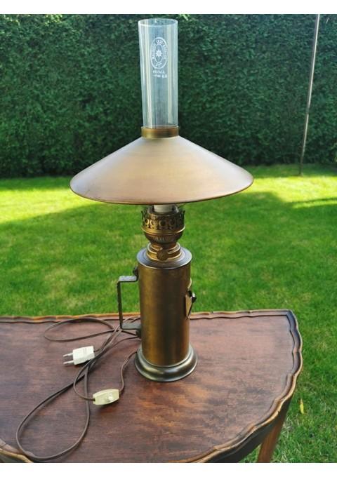 Žibalinė elektrifikuota lempa, stalinis šviestuvas. Veikianti. Kaina 83