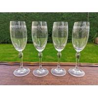 Taurės antikvarinės, graviruoto stiklo, Viktorijos laikų. Anglija. 4 vnt. Kaina po 13