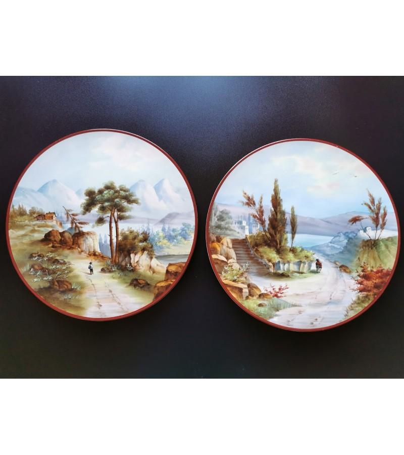 Paveikslėliai porceliano, antikvariniai. Skersmuo 32 cm. 2 vnt. Kaina po 46