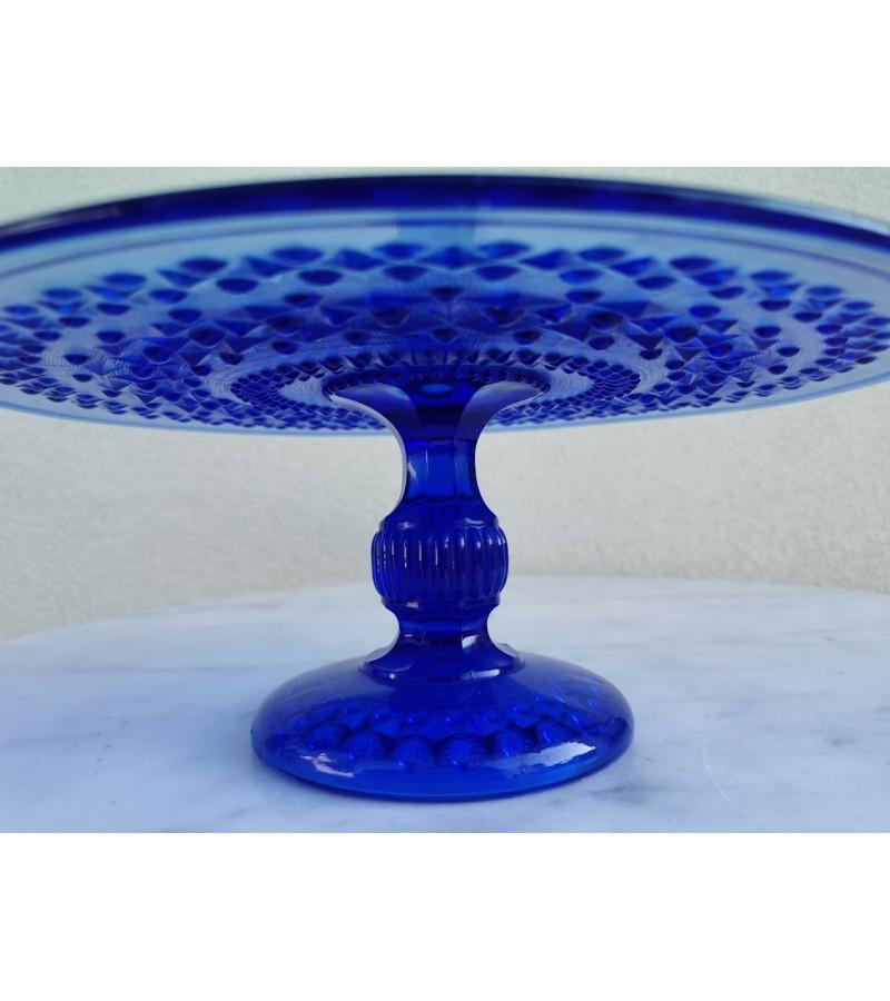 Tortinė mėlyno stiklo, antikvarinė. Kaina 73