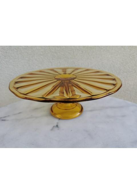 Tortinė gintaro spalvos geltono stiklo, antikvarinė. Kaina 73