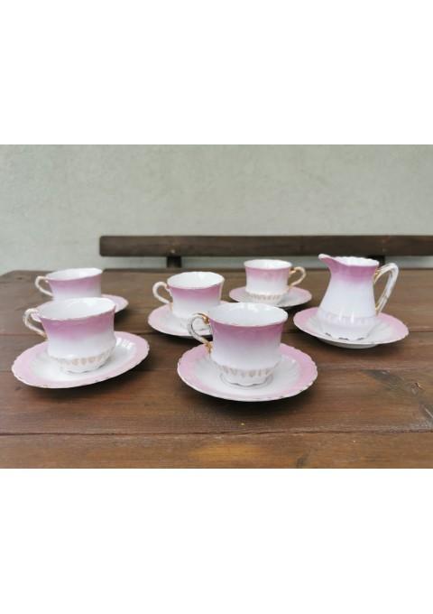 Puodeliai su lėkštutėmis porcelianiniai, antikvariniai. Carl Tielsch Altwasser. C.T Germany. 5 vnt. Kaina po 8