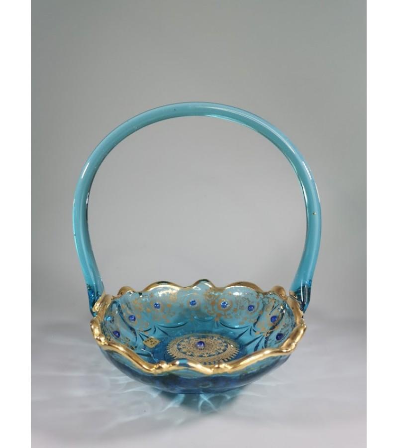 Vaza, saldaininė stiklinė, tapyta. Italija. Kaina 43