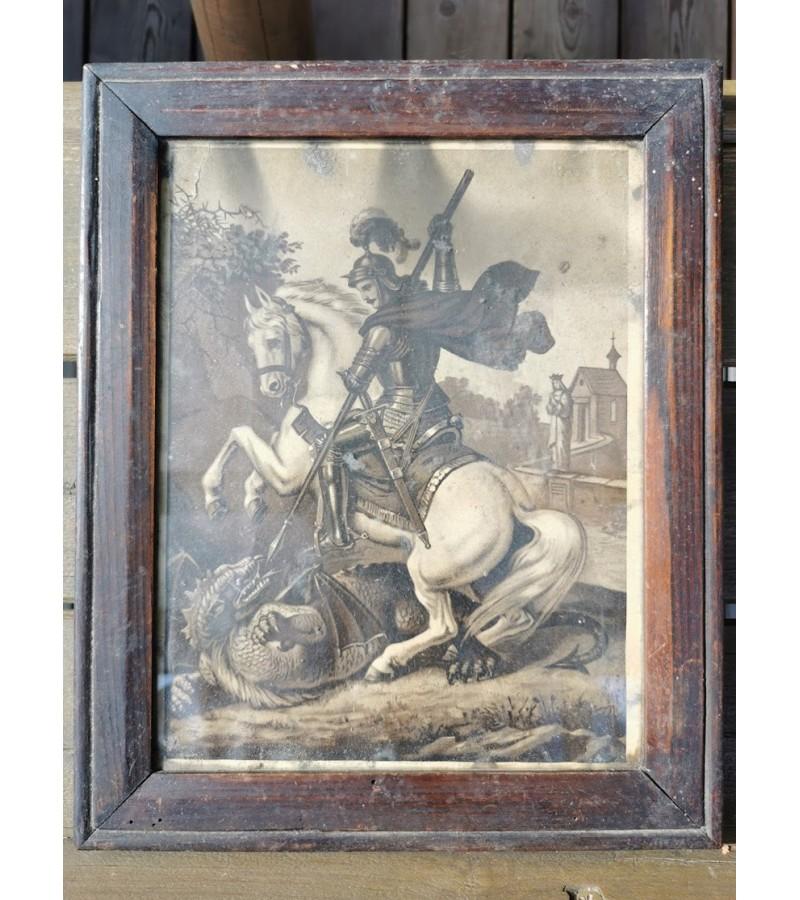 Paveikslėlis, litografija Šv. Jurgis smeigia ietimi slibiną. Tarpukario Lietuva. Kaina 32