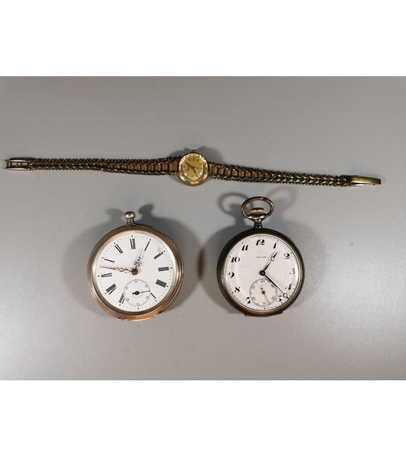 Laikrodžiai: auksuotas 333, sidabrinis 800 ir metalinis šveicariški. 3 vnt. Kaina 28 už visus.