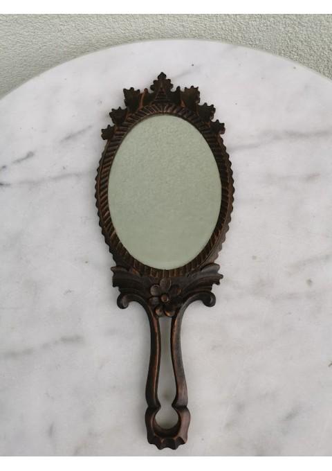 Veidrodėlis antikvarinis, mediniu rėmu, facetuotu stiklu. Kaina 53