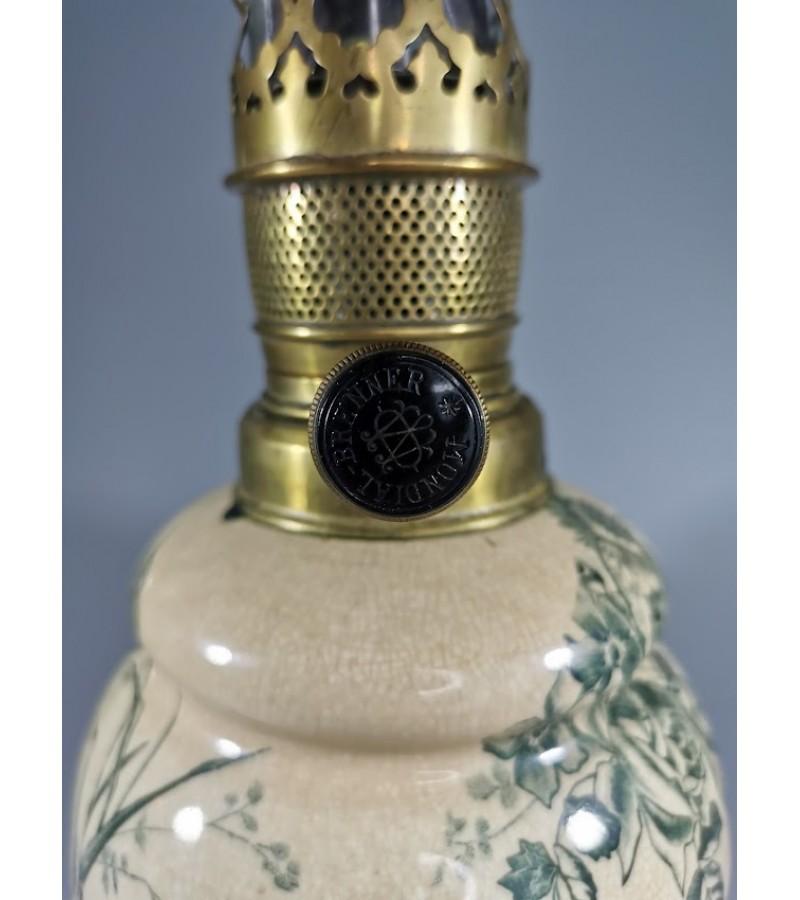 Žibalinė lempa antikvarinė, keraminė, glazūruota. Stiklas klijuotas. Kaina 32