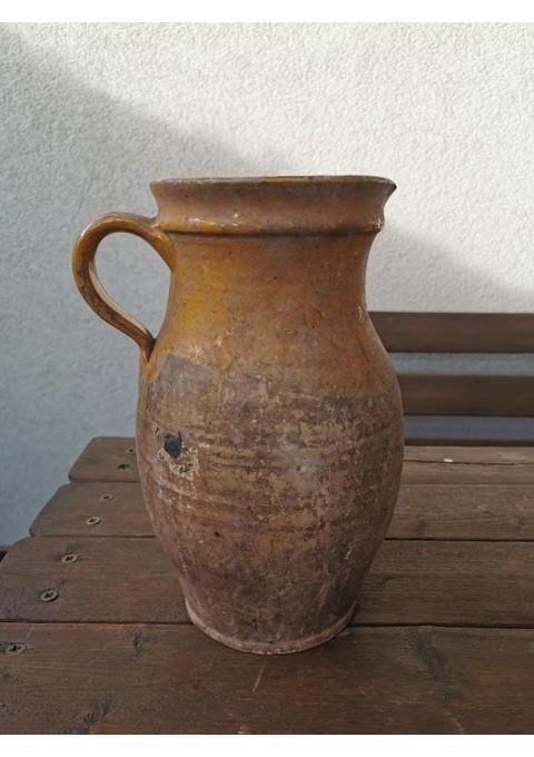 Ąsotis keraminis, molinis, antikvarinis, glazūruotu viršum. Kaina 33