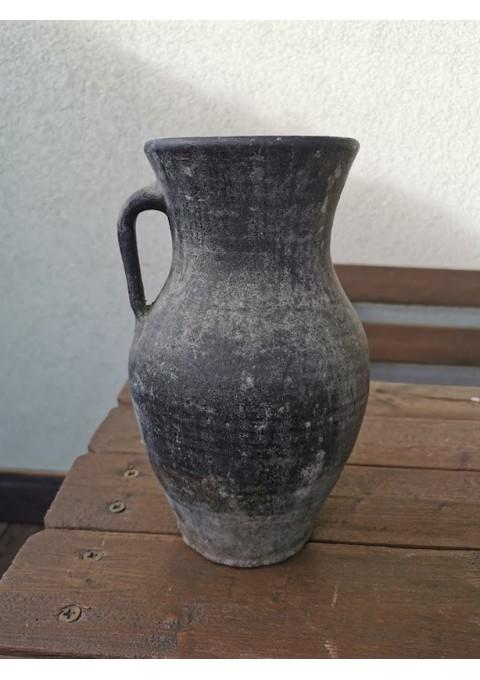 Ąsotis keraminis, molinis, juodo molio, antikvarinis. Kaina 33