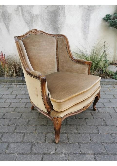 Krėslas, fotelis Bergère, neobaroko stiliaus. Tvirtas ir patogus. REZERVUOTA