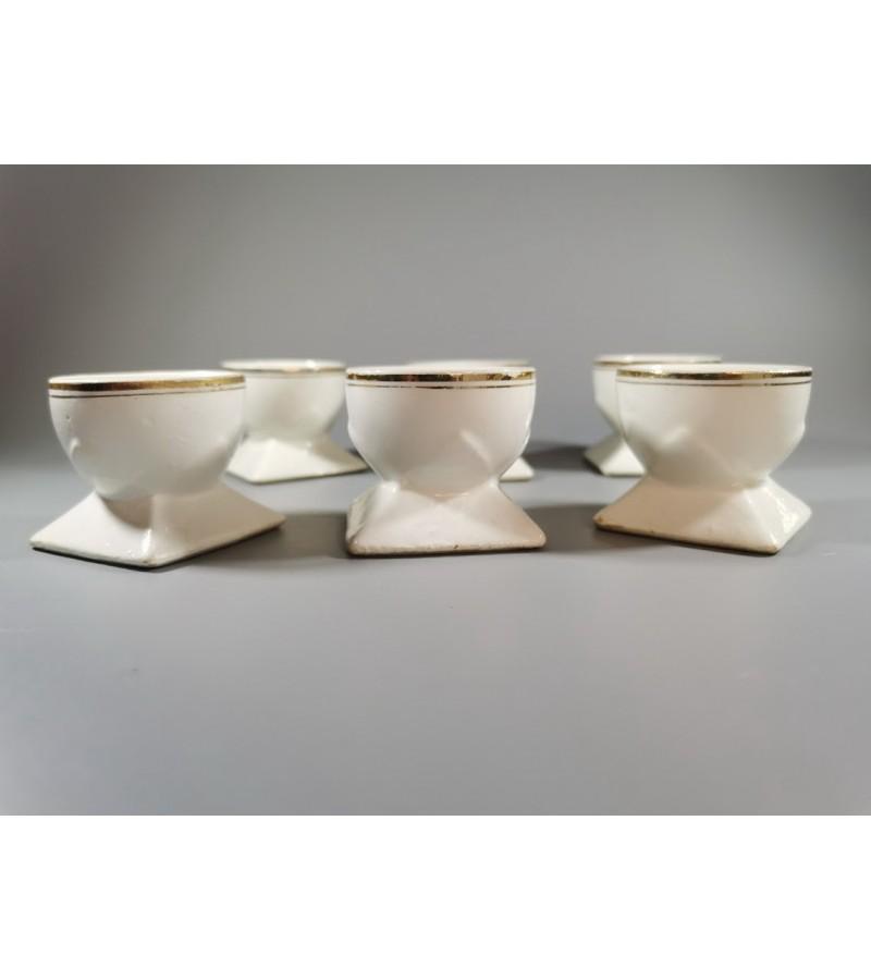 Indeliai, dėklai Art Deco stiliaus, tarpukario, porcelianiniai kiaušiniams valgyti, antikvariniai. 6 vnt. REZERVUOTA