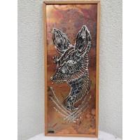 Paveikslas, bareljefas metalinis su dizainerio pavarde. Kaina 38