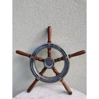 Šturvalas laivo, autentiškas, nikeliuotas metalas, medis. Naudotas. Kaina 158