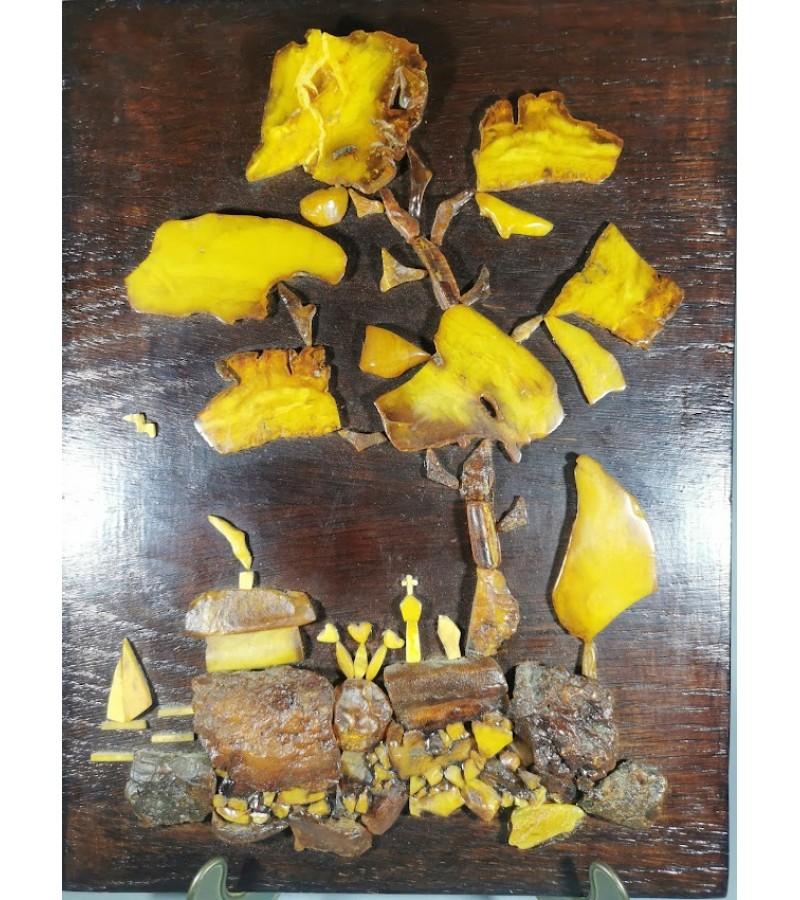 Paveikslėlis lietuviškas, dekoruotas gintaro gabalėliais, vintažinis. Pajūrys. Dydis: 24 x 32 cm. Kaina 63