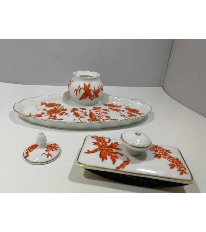 Rašalinė, raštinės rinkinys antikvarinis Beyer Bock Mikado porcelain. Vokietija. Kaina 28