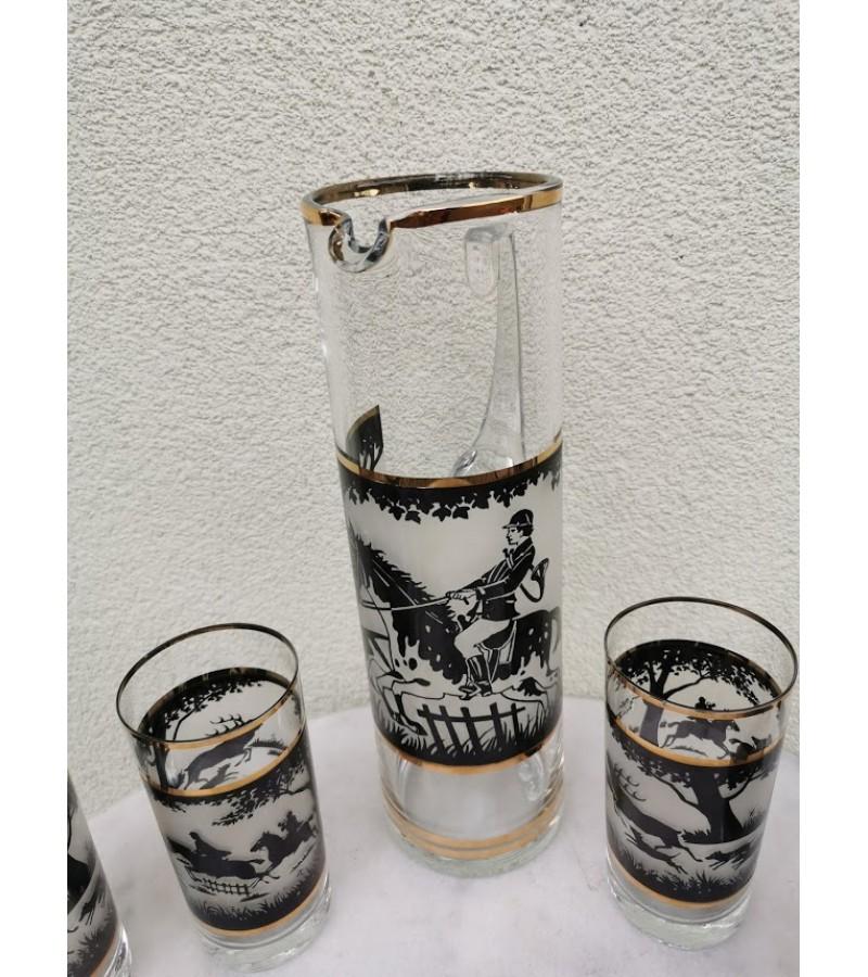 Ąsotis su 6 stiklinėm - MEDŽIOKLĖ. Čekoslovakija. Kaina 42