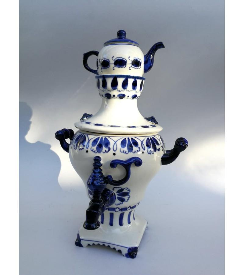 Samovar ГЖЕЛ (Gžel, Gzhel) porcelianinis, tarybinių laikų. Kaina 72
