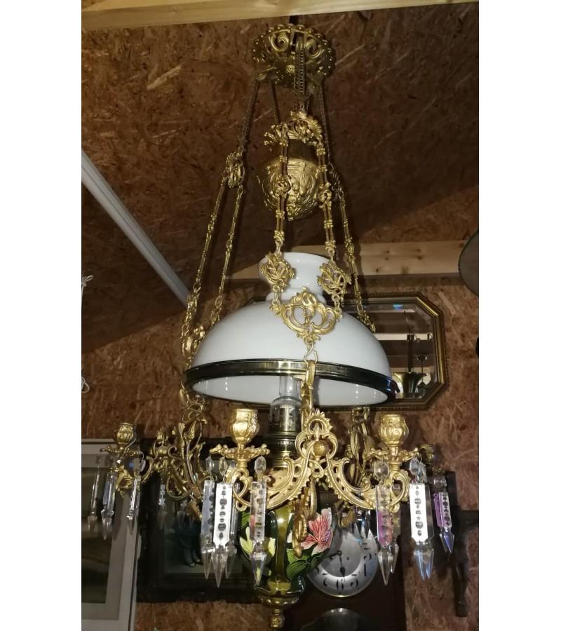 Šviestuvas žibalinis su 6 žvakidėmis, antikvarinis, Art nouveau stiliaus. Originalas. Kaina 375