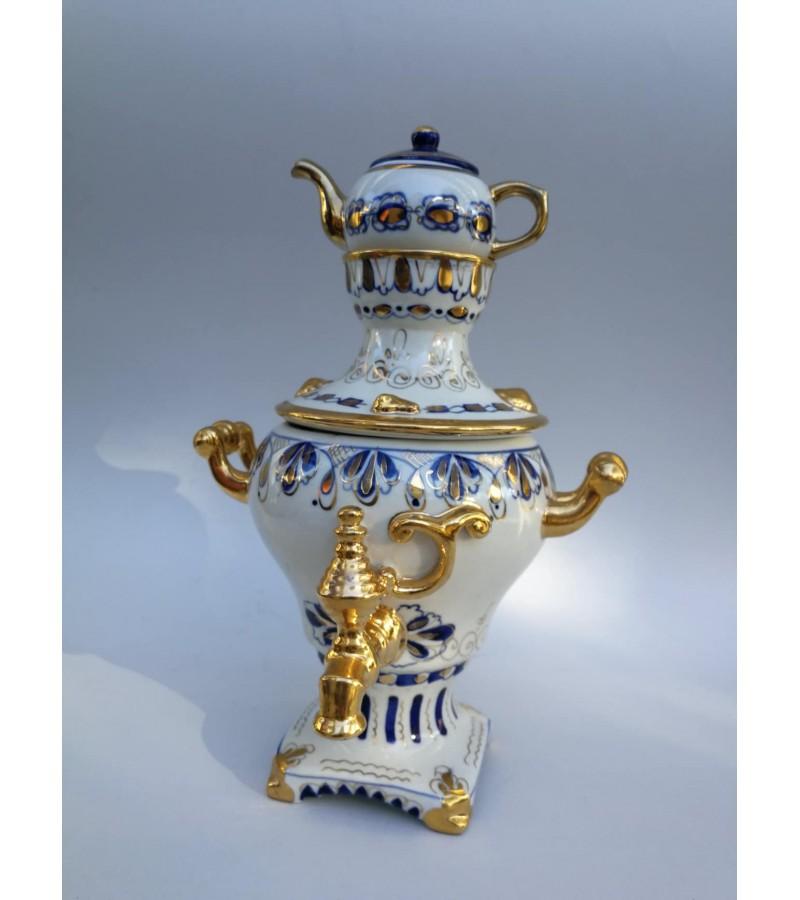Samovar ГЖЕЛ (Gžel, Gzhel) porcelianinis, tarybinių laikų. Kaina 82