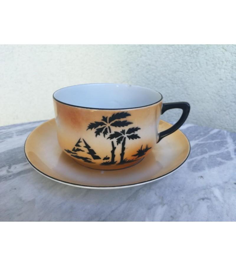 Puodelis su lėkštute Art Deco, antikvarinis. Čekoslovakija. 1920-1937 Art Deco cup and saucer. Kaina 23