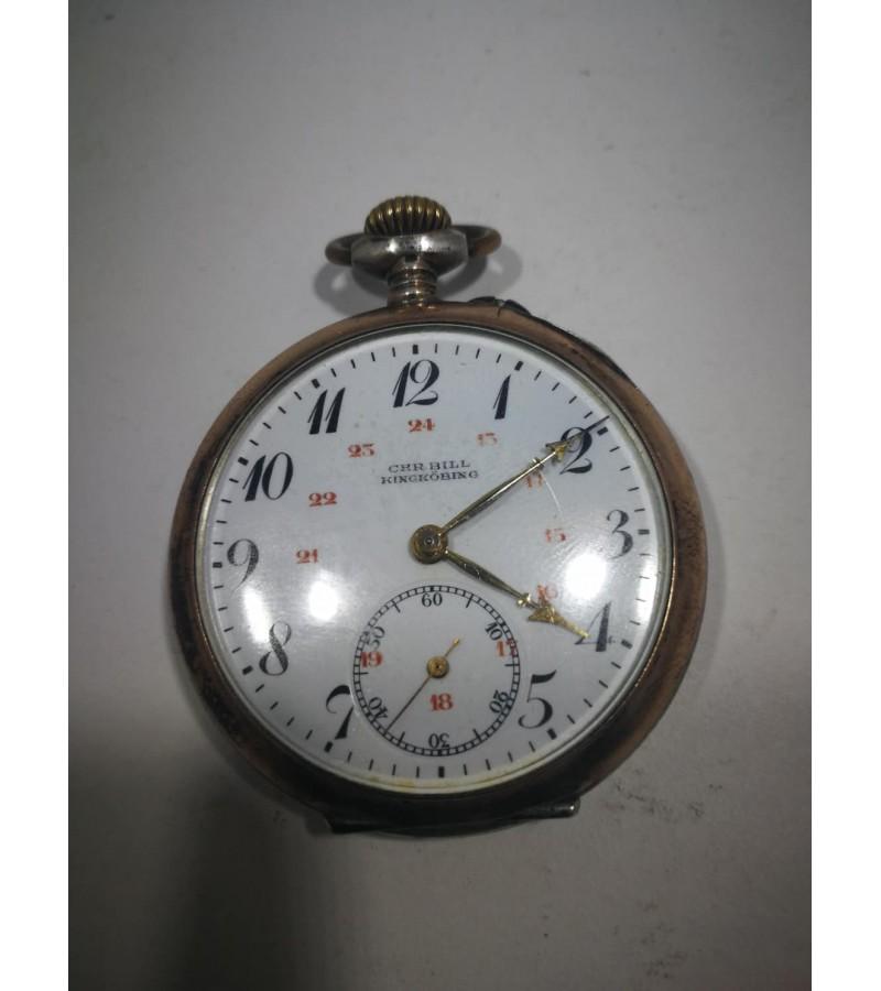 Laikrodis sidabrinis, antikvarinis, kišeninis CHR. BILL . Veikiantis. Kaina 83