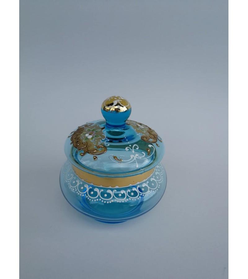 Dėžutė stiklinė, Jugendstil glass box. Kaina 18