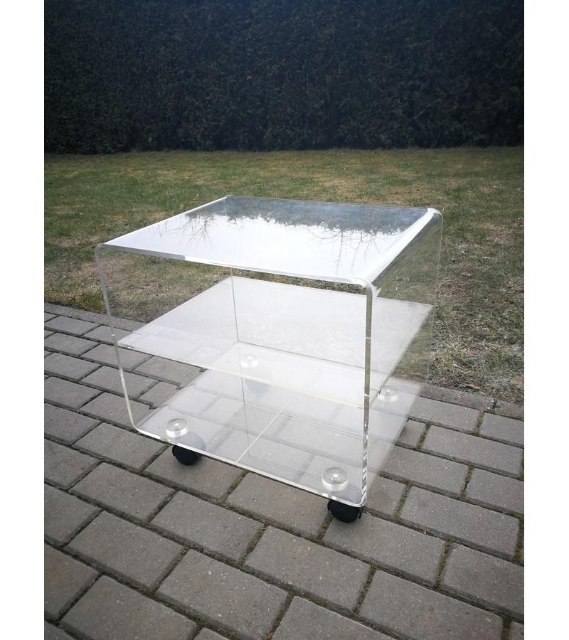 Staliukas organinio stiklo su ratukais. Kaina 72