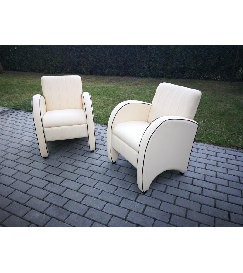 Foteliai ART DECO stiliaus odiniai. 2 vnt. Kaina po 112