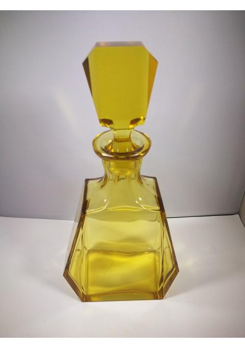 Grafinas Art Deco, tarpukario, geltono stiklo. Elegant Art Deco amber glass decanter. Kaina 137