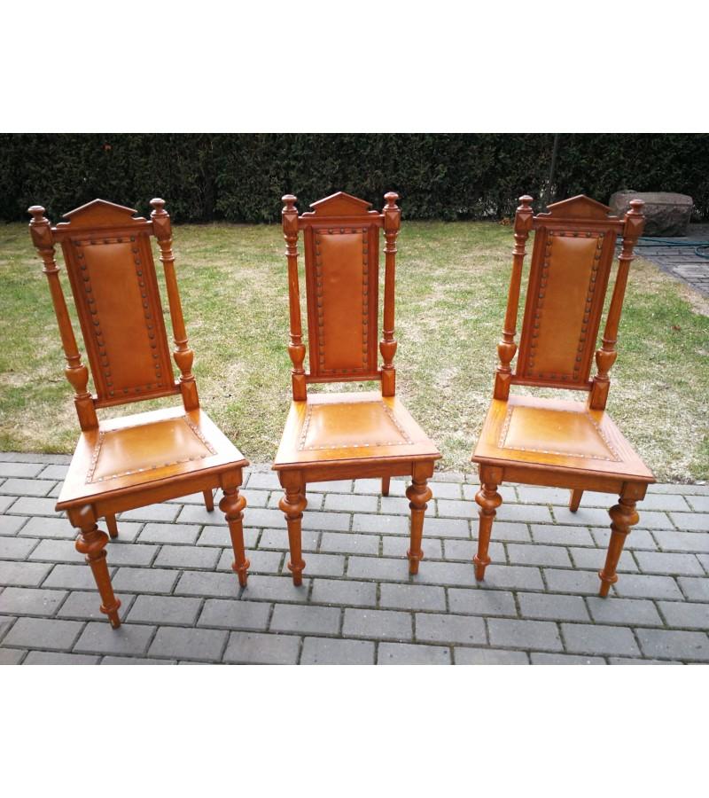 Ąžuolinės kėdės su natūralia oda. 3 vnt. Kaina po 43