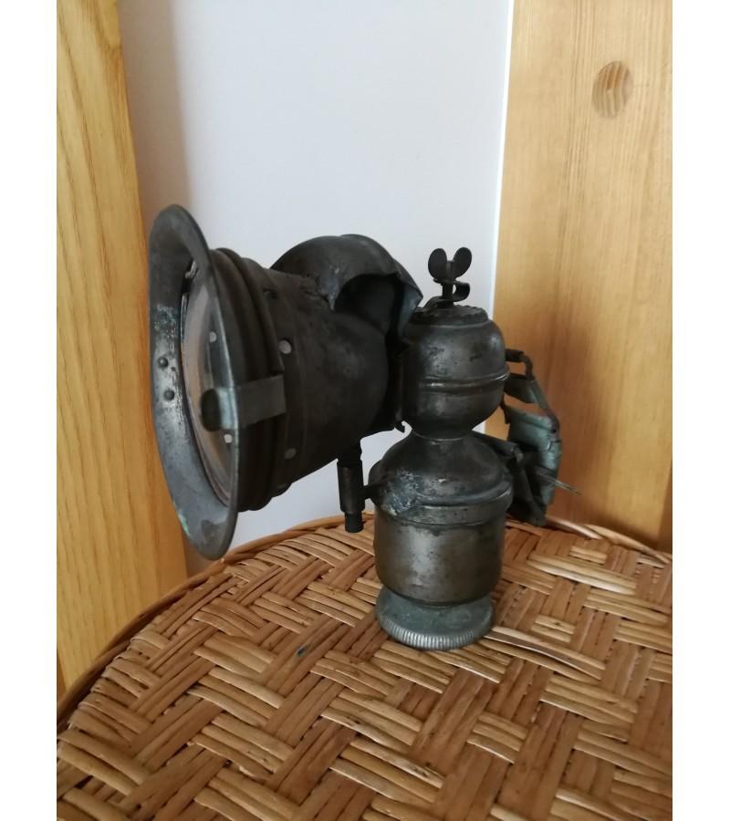 Žibintas antikvarinis karbidinė dviracio, motociklo, šachtininų lempa. Kaina 107