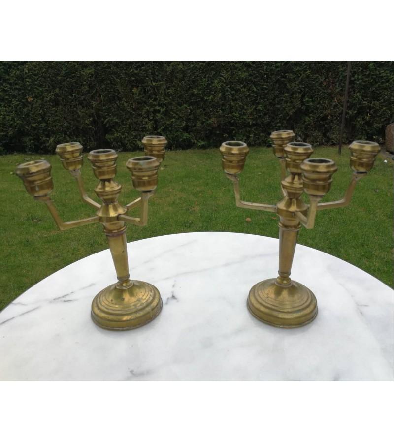Žvakidės. Antikvarinės bronzinės 5 šakų. 2 vnt. Kaina 52 už abi.
