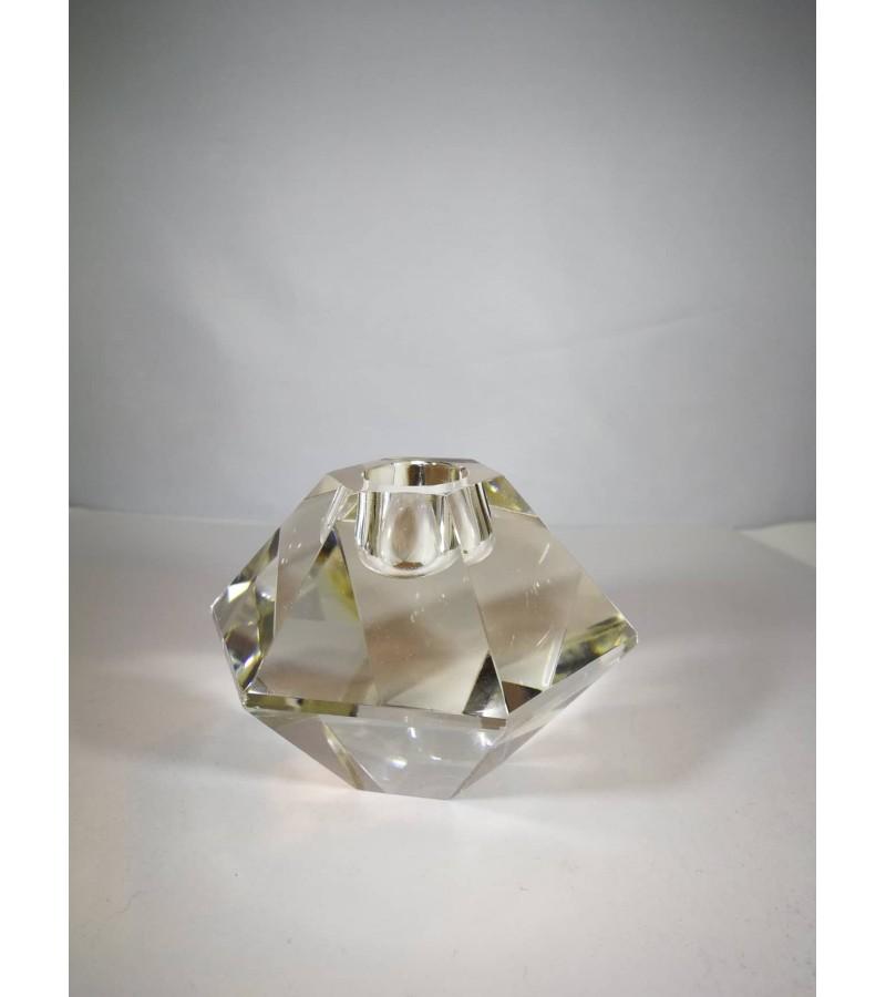 Žvakidė. Krištolinė, dūmo spalvos stiklo. Kaina 18