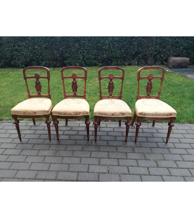 Kėdės. Belle epoque stiliaus 4 vnt. Kaina 90 už visas. Vieną reikia klijuoti.