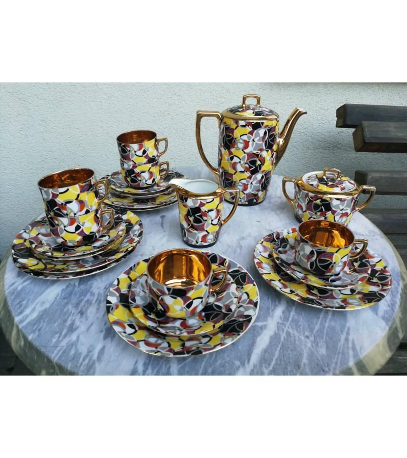 Servizas Art Deco tarpukario, porcelianinis 6 asmenims.  Kaina 72