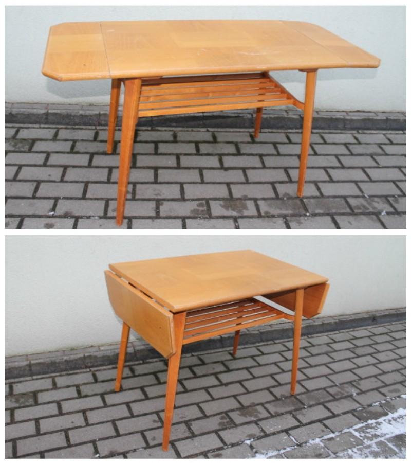 Skandinavisko dizaino stalelis pakeliamais galais. Kaina 62 Eur.