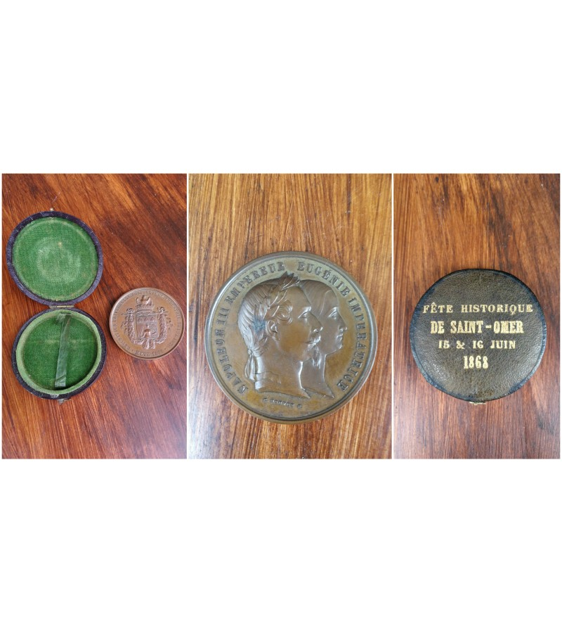 1861 m. prancuziskas stalo medalis originalioje dezuteje. Kaina 107