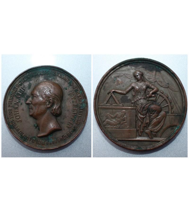 Medalis: 1829, Brandenburg-Prussia, Friedrich Wilhelm III.,bronze medal from F. Brandt. Kaina 52 eur