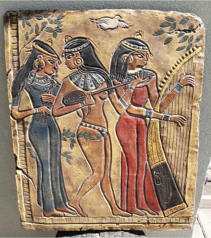 Sunki, didele keramine plokste Egipto motyvais. Kaina 68